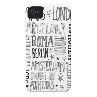 Cities of Europe Chic Modern Typography City Gifts Case-Mate iPhone 4 Cases