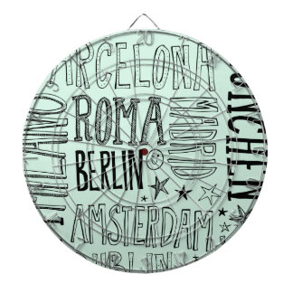 Cities of Europe Chic Modern Typography City Gifts Dartboard