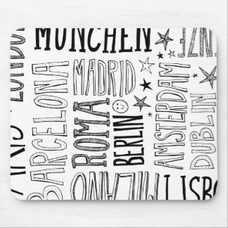 Cities of Europe Chic Modern Typography City Gifts Mouse Pad