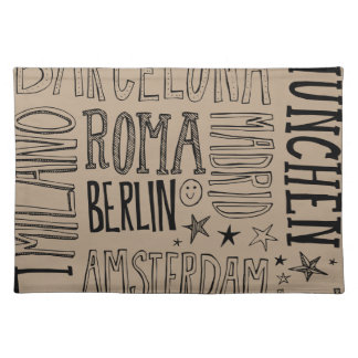 Cities of Europe Chic Modern Typography City Gifts Place Mat