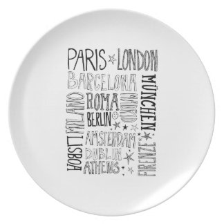 Cities of Europe Chic Modern Typography City Gifts Plate