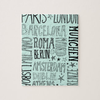 Cities of Europe Chic Modern Typography City Gifts Puzzles