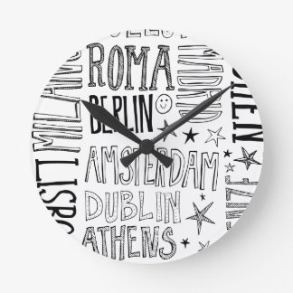Cities of Europe Chic Modern Typography City Gifts Round Clock