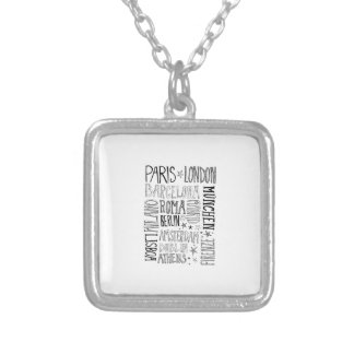 Cities of Europe Chic Modern Typography City Gifts Silver Plated Necklace