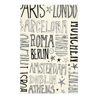 Cities of Europe Chic Modern Typography City Gifts Stationery