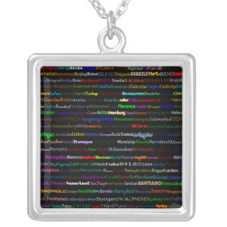 Cities Of The World Text Design I Square Necklace