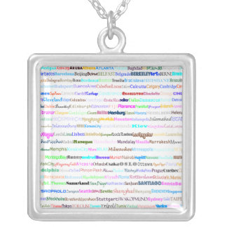 Cities Of The World Text Design II Square Necklace
