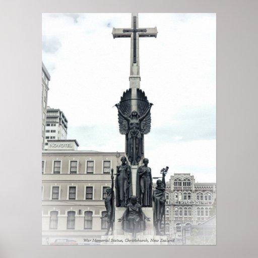 Citizen War Memorial Statue, Christchurch New Zeal Posters