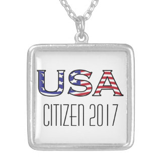 Citizenship Year USA Stars and Stripes Silver Plated Necklace