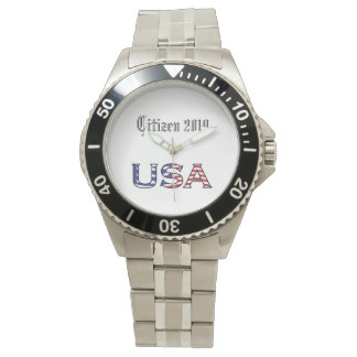 Citizenship Year USA Stars and Stripes Text Watch