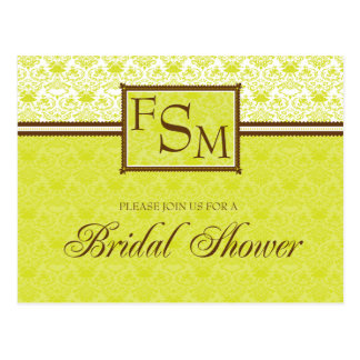 Citrine Brown Bridal Shower Postcard