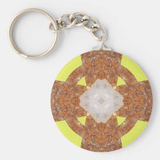 Citrine Cross Design! Basic Round Button Key Ring