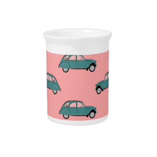 Citroen 2CVs - Green on Pink - Cars Beverage Pitchers