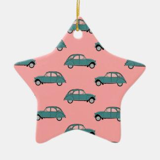 Citroen 2CVs - Green on Pink - Cars Ceramic Ornament