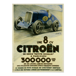 Citroen sets a distance record in 1933 Poster