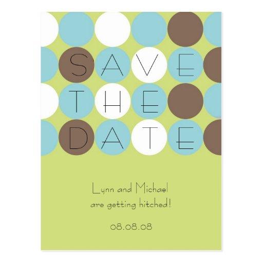 Citron Dots Save the Date Postcard (Customizable)