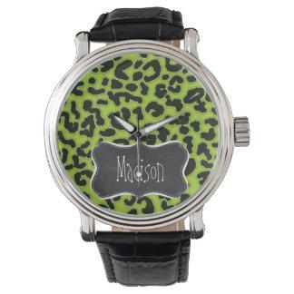 Citron Green Leopard; Vintage Chalkboard Wristwatch