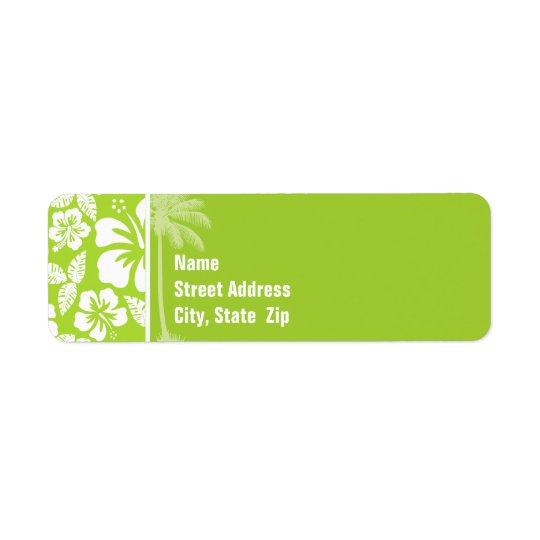 Citron Green Tropical Hibiscus; Summer Palm Return Address Label