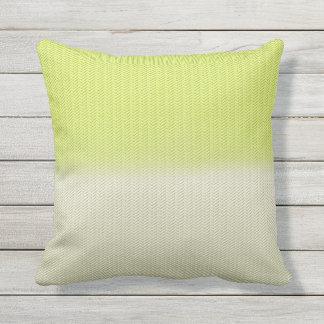 Citron Lime Green Dusty Cream Digital Herringbone Outdoor Cushion