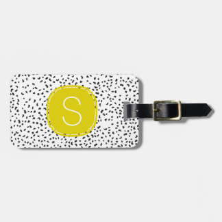 Citron Monogram Black and White Dalmatian Spots Bag Tag