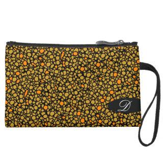 Citrus and black coil purse with monogram wristlet clutch