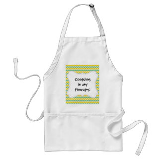 Citrus and Lime Chevron Yellow Green Zigzags Adult Apron