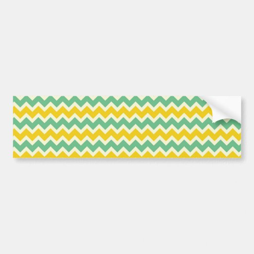 Citrus and Lime Chevron Yellow Green Zigzags Bumper Stickers