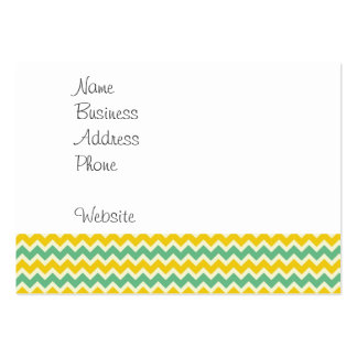 Citrus and Lime Chevron Yellow Green Zigzags Business Card Template