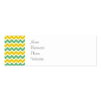 Citrus and Lime Chevron Yellow Green Zigzags Business Card Templates