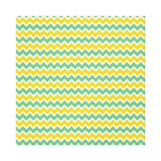 Citrus and Lime Chevron Yellow Green Zigzags Gallery Wrapped Canvas