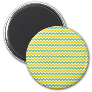 Citrus and Lime Chevron Yellow Green Zigzags Refrigerator Magnets