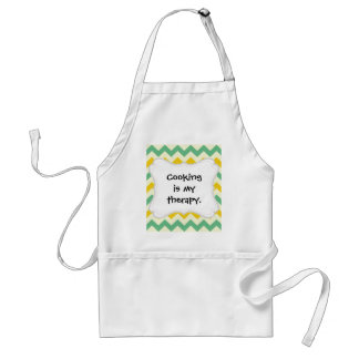 Citrus and Lime Chevron Zigzags Yellow Green Adult Apron