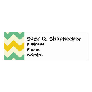 Citrus and Lime Chevron Zigzags Yellow Green Business Card Templates