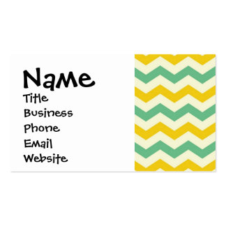 Citrus and Lime Chevron Zigzags Yellow Green Business Card Template