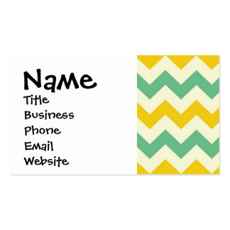 Citrus and Lime Chevron Zigzags Yellow Green Business Card