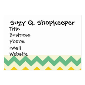 Citrus and Lime Chevron Zigzags Yellow Green Business Cards