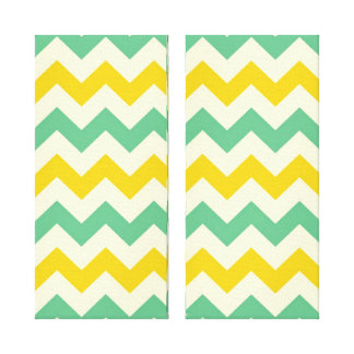 Citrus and Lime Chevron Zigzags Yellow Green Gallery Wrap Canvas