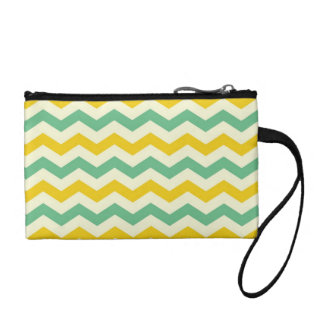 Citrus and Lime Chevron Zigzags Yellow Green Change Purses