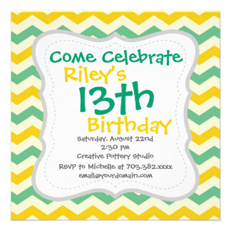Citrus and Lime Chevron Zigzags Yellow Green Personalized Invites