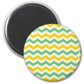 Citrus and Lime Chevron Zigzags Yellow Green Magnets