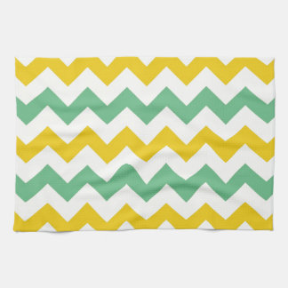 Citrus and Lime Chevron Zigzags Yellow Green Tea Towel