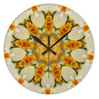 Citrus Floral Pattern Fractal Large Clock