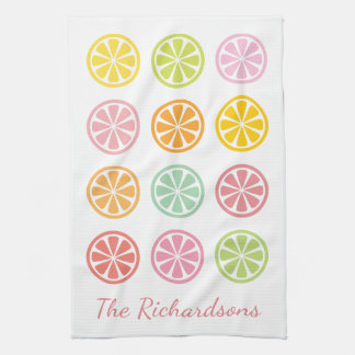 Citrus Fruit Personalized Name Kitchen Towel