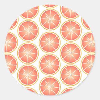 Citrus Fruit Print - Grapefruit Classic Round Sticker