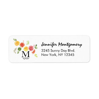 Citrus Fruits in Watercolor Return Address Label