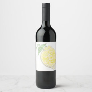 Citrus illustrated with cities of Florida State US Wine Label