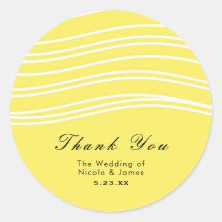 Citrus Lemon Yellow & White Wave Modern Wedding Classic Round Sticker