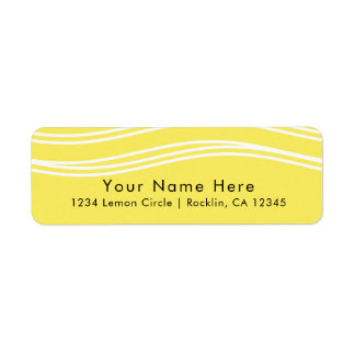 Citrus Lemon Yellow & White Wave Modern Wedding Return Address Label