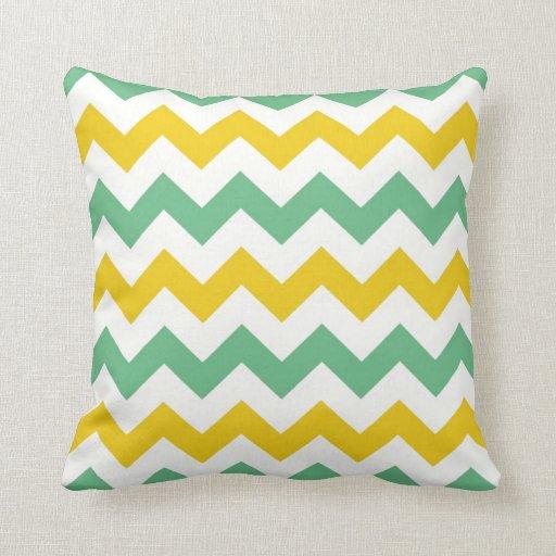 Citrus Lime Chevron Zigzags Yellow Green Pillow