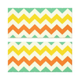 Citrus Lime Green Orange Yellow Chevron Zigzags Stretched Canvas Print